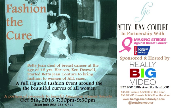 Breast Cancer, American Cancer Society, Betty Jean Couture, Portland, Fashion, Design, Fashion Show